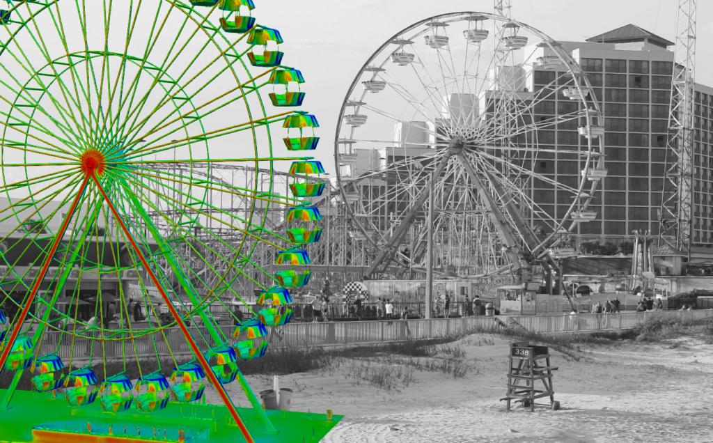 Ferris wheel amusement park high structure cfd fluid flow simulation